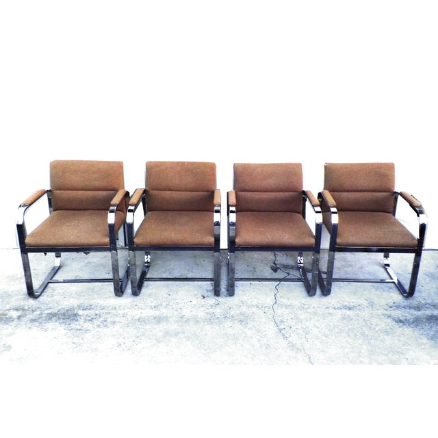Mid-Century Modern Chrome Chairs - Set of 4 - Image 2 of 7