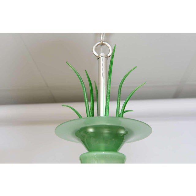 Glass Napoleone Martinuzzi Art Deco Italian Chandelier For Sale - Image 7 of 11