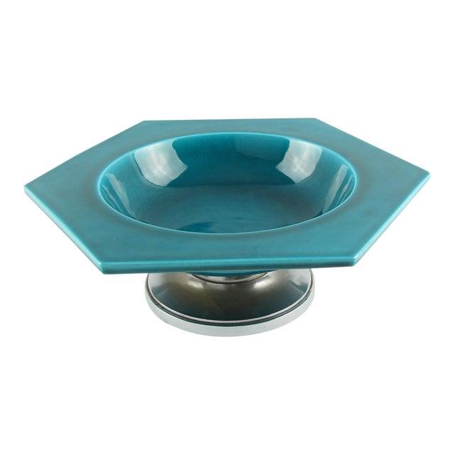 Paul Milet for Sevres Art Deco Turquoise Ceramic Bowl For Sale
