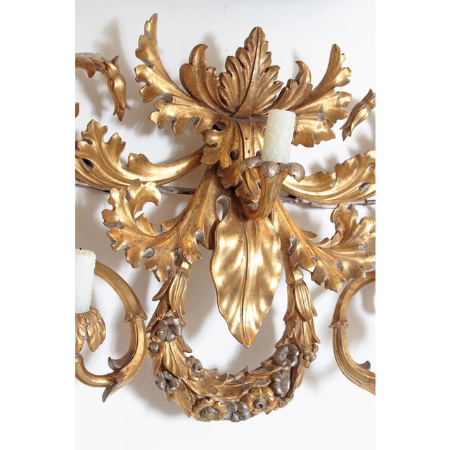 Mid 19th Century Oversized Italian Baroque-Style 7-Arm Gilt and Silvered Wood Wall Sconce For Sale - Image 5 of 13