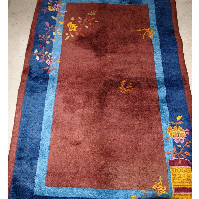 1920s Handmade Antique Art Deco Chinese Rug 3' X 4.11' For Sale - Image 9 of 13