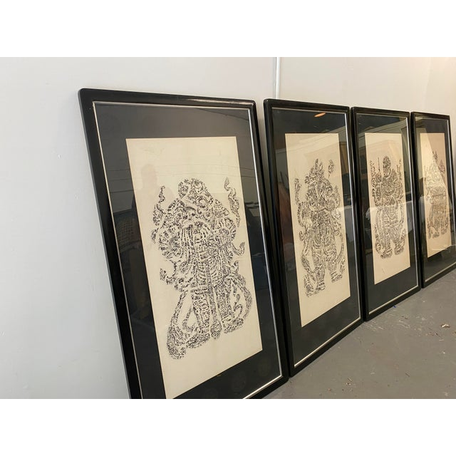 Asian Vintage Cynocephaly Eastern Zodiacal Rubbings - Set of 4 For Sale - Image 3 of 11