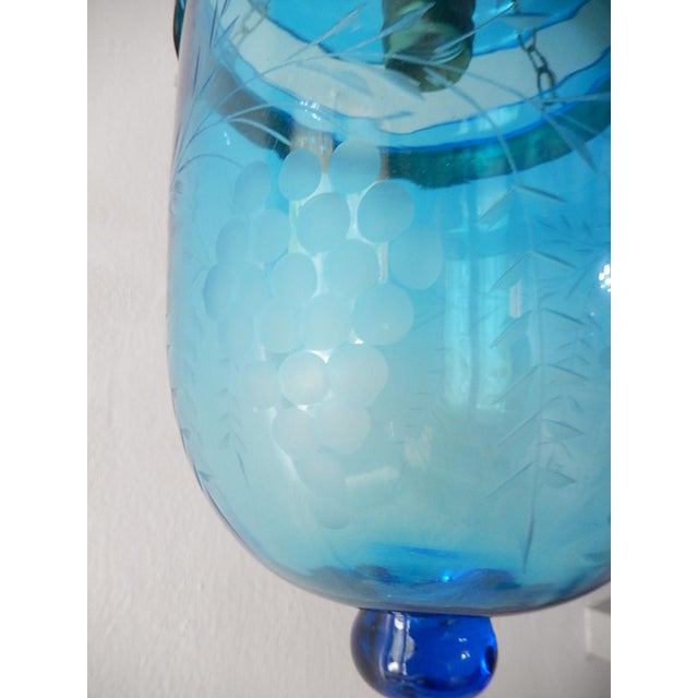 19th Century Cobalt Blue English Bell Jar Lantern Chandelier For Sale - Image 6 of 13