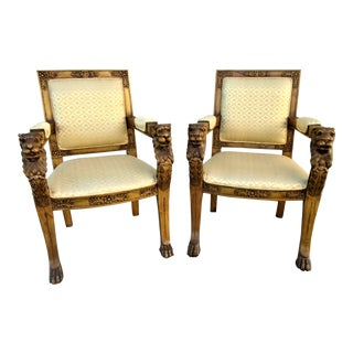 Vintage Carved Baronail Chairs - a Pair For Sale