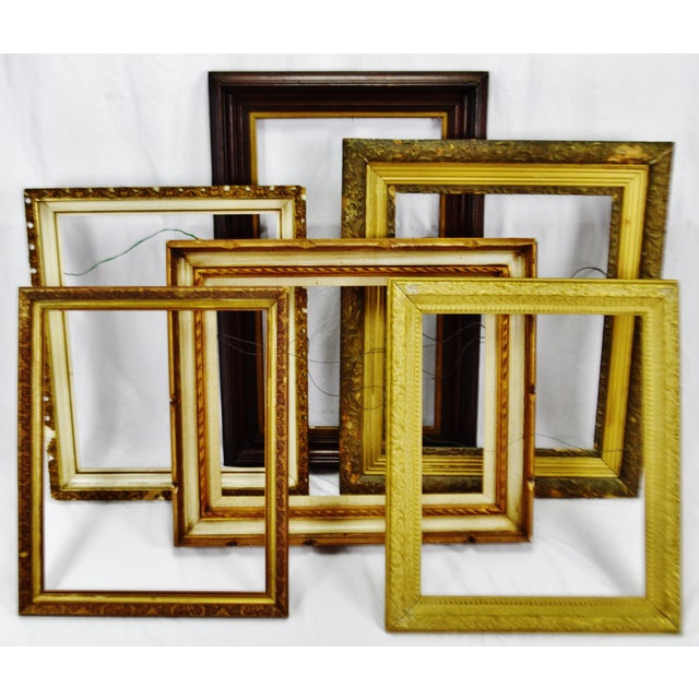 Wood Vintage Medium Sized Wood Picture Frames - Group of 6 For Sale - Image 7 of 13