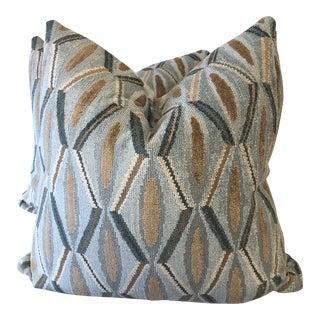 "Turquoise Diamond Velvet Gros Point 22"" Pillows-A Pair For Sale"