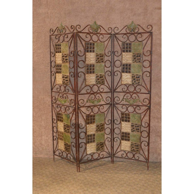 Bronze 1980s Vintage 3-Panel Folding Screen For Sale - Image 8 of 13