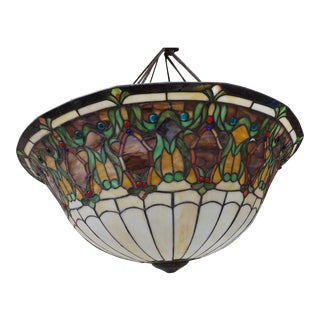 Vintage Stained Glass Lamp Shade Pendant or Floor Lamp