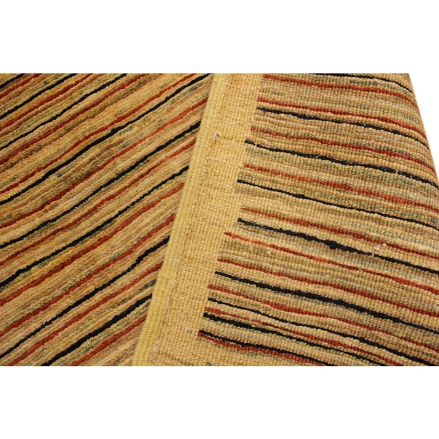 1990s Boho Chic Gabbeh Peshawar Jovita Tan/Red Hand-Knotted Wool Rug -3'0 X 4'9 For Sale - Image 5 of 8