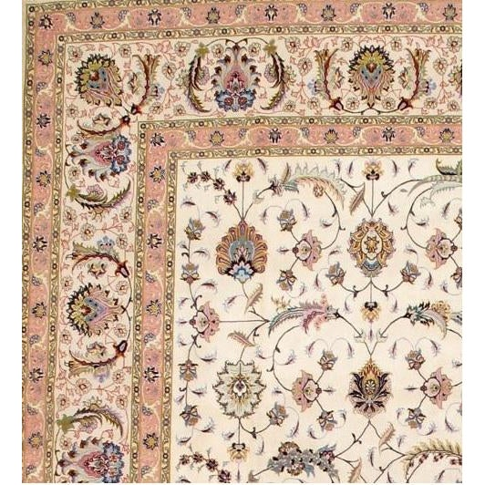 Original Persian Tabriz handmade and hand-knotted in Tabriz Iran Silk highlighted with korker wool on a silk foundation.
