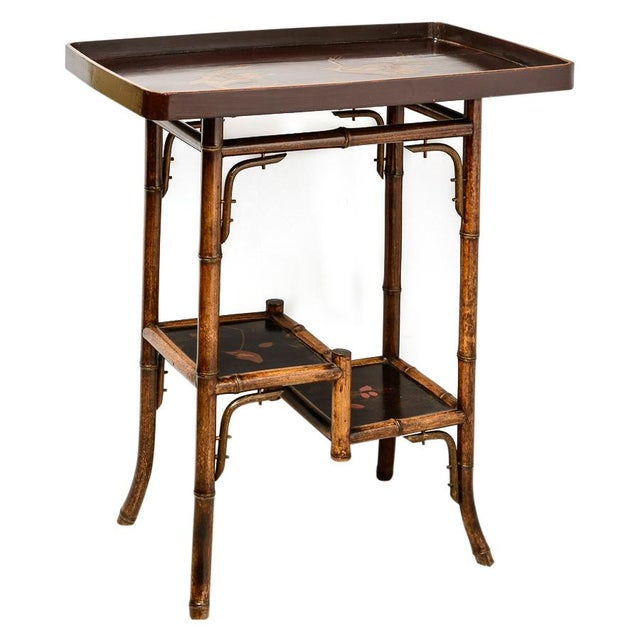 Gold English Bamboo and Lacquer Tray Table For Sale - Image 8 of 8