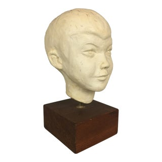 20th Century Figurative Young Boy Bust on Wood Base For Sale