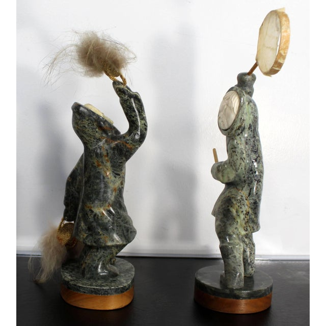 Modern Modern Pair of Eskimo Soapstone and Tusk Carving Table Sculptures Signed Ekemo For Sale - Image 3 of 11