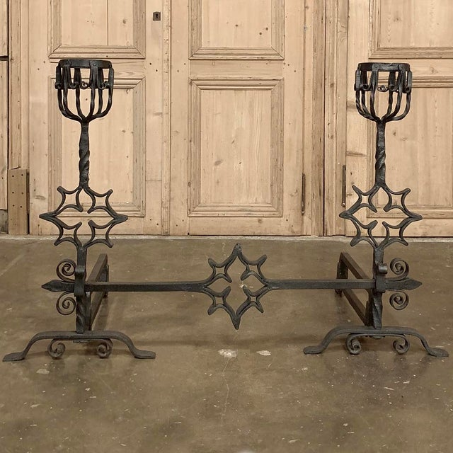 Late 18th Century 18th Century Grand Wrought Iron Andirons For Sale - Image 5 of 13