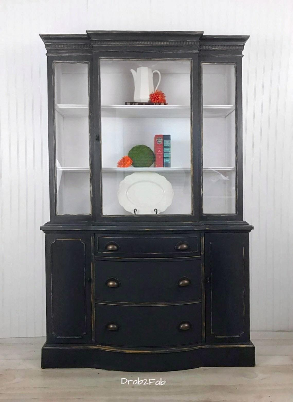 Duncan Phyfe Gray And Gold China Cabinet   Image 7 Of 8
