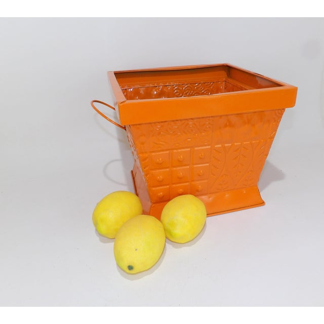 Beautiful orange gloss painted metal MCM Can. Vintage - so it has some character. Great for a multitude of uses. Wedding...