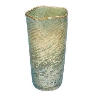 Murano Glass Aquamarine Vase For Sale