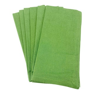 """20"""" Square Green Cotton Napkins - Set of 6 For Sale"""