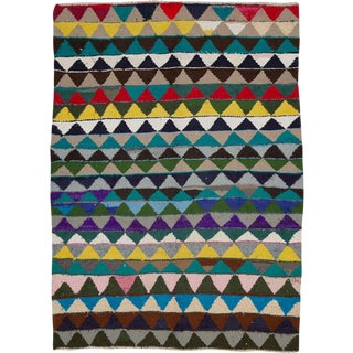 "Vintage Persian Flatweave Kilim Rug – Size: 5' 2"" X 7' 1"" For Sale"
