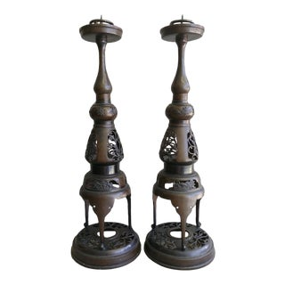 Vintage 1950s Japanese Bronze Candlesticks - a Pair For Sale