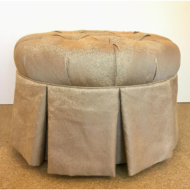 2010s Kincaid Modern Gray and Gold Round Tufted Ottoman For Sale - Image 5 of 5