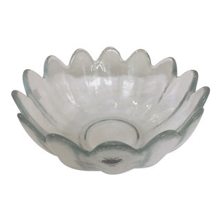 Blenko Handcrafted Large Scalloped Console Bowl For Sale
