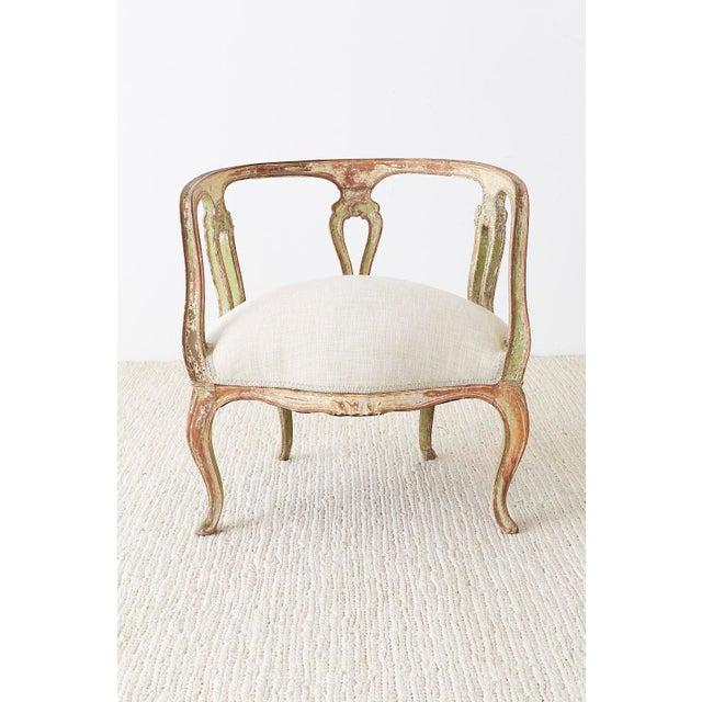 Rococo 19th Century Venetian Rococo Style Round Salon Armchair For Sale - Image 3 of 13
