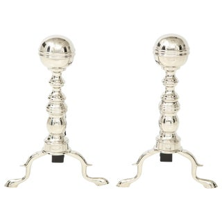Art Deco Polished Nickel Cannonball Andirons - a Pair For Sale