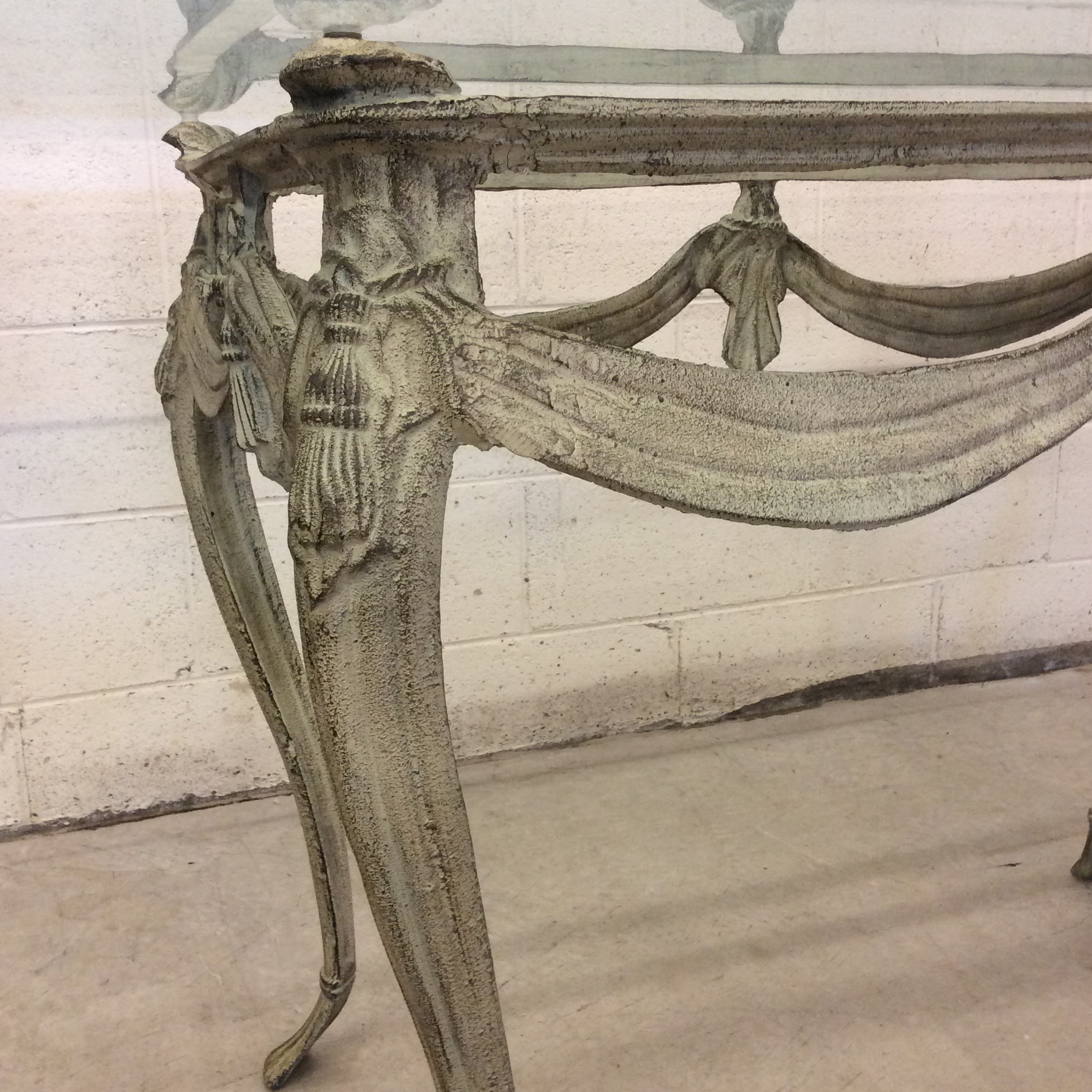 Verdigris Iron And Glass Top French Style Dining Table For Sale   Image 4  Of 9
