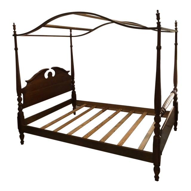 1960s Traditional Thomasville Full Size Four 4 Poster Canopy Bed For Sale