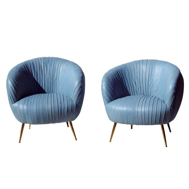 Metal Modern Rouched Leather Lounge Chairs - a Pair For Sale - Image 7 of 7