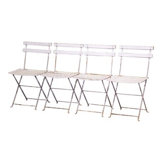 Set of Four French Iron and Wood Folding Bistrot Chairs For Sale