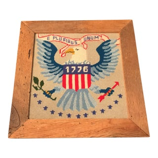 America Needlepoint in Wood Frame For Sale