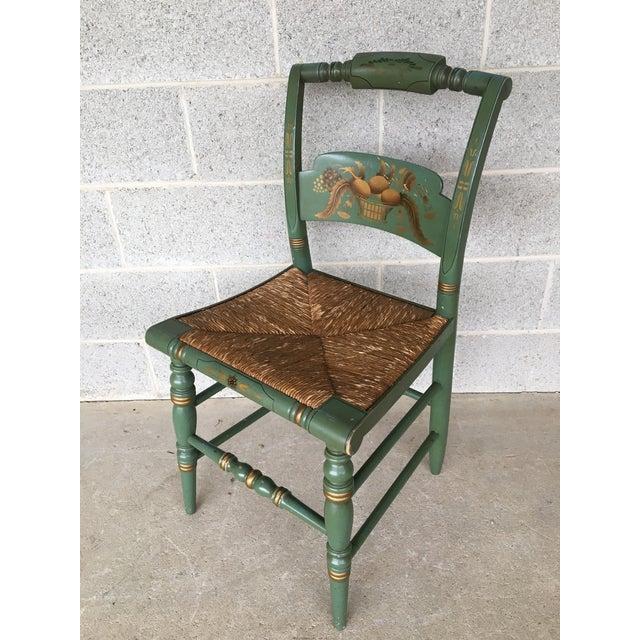 Description: L. Hitchcock Pair of Crown Back Rush Bottom Solid Maple Side Chairs, Rare Original Finish Color, Fruit Paint...