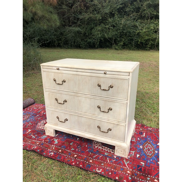 White Hickory White Chest With Flutted Drawers and Greek Key Legs For Sale - Image 8 of 13