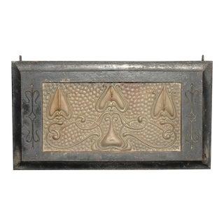 Antique Art Nouveau Metal Fireplace Grill Grate ~ Black Wall Ceiling Vent For Sale