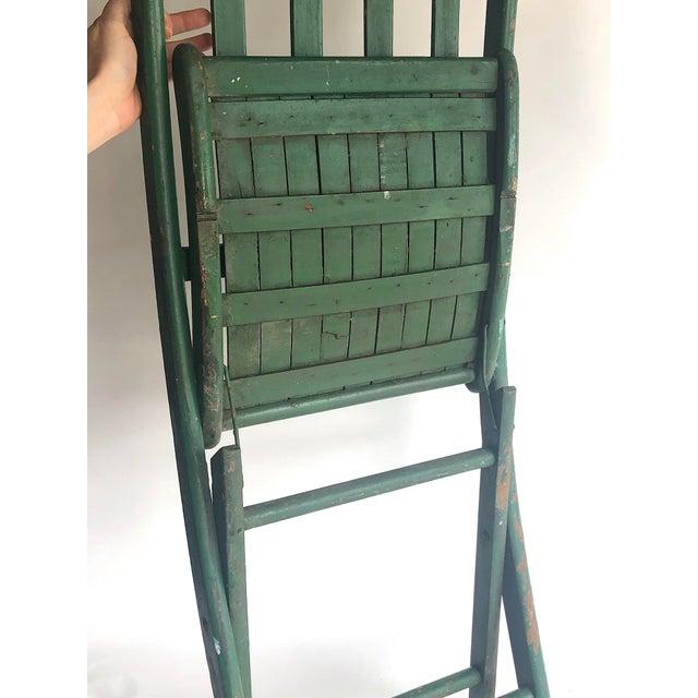 Superb 1950S Vintage Green Wood Slat Seat Folding Chair Creativecarmelina Interior Chair Design Creativecarmelinacom