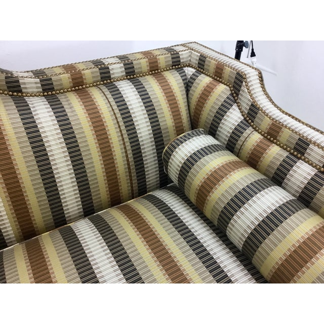 2010s Traditional Hickory White Earth Tone Striped Sofa For Sale - Image 5 of 7