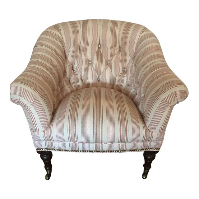 Custom Upholstered English Library Style Chair - Image 1 of 6