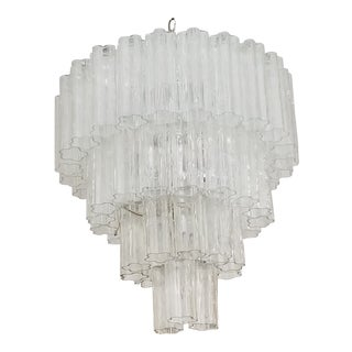 "Vintage Italian "" Tronchi "" Murano Glass Chandelier by Venini. For Sale"