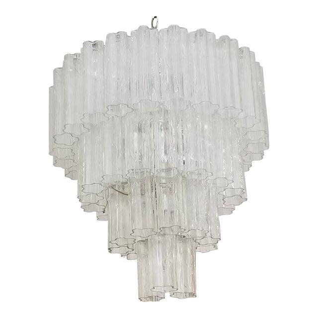 "Vintage Italian "" Tronchi "" Murano Glass Chandelier by Venini. For Sale"