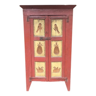 1930s Dutch Folk Art Signed Hand Carved Red Wood Cupboard