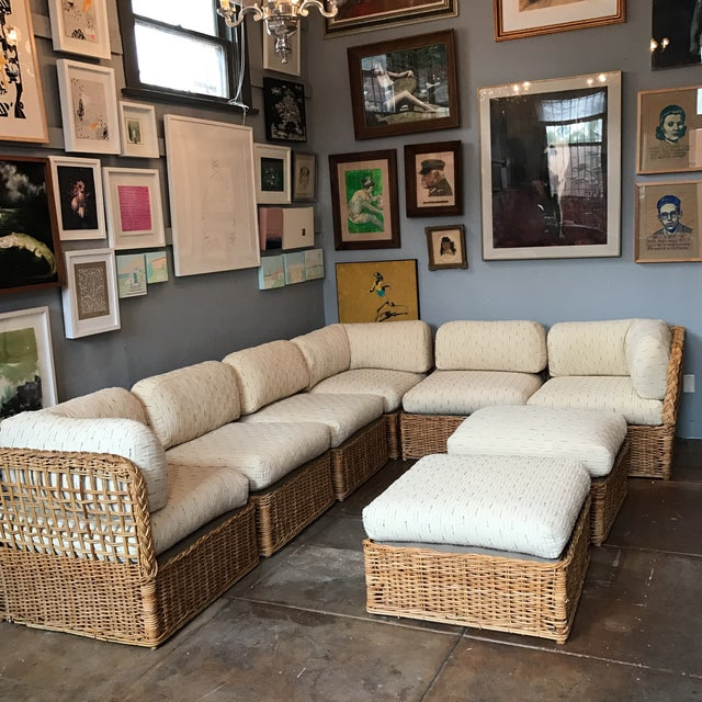 Cottage Vintage Rattan Sectional Sofa Set For Sale - Image 3 of 11