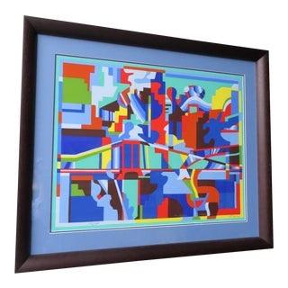 Cubist Mid-Century Modern Abstract Puzzle Piece Print For Sale