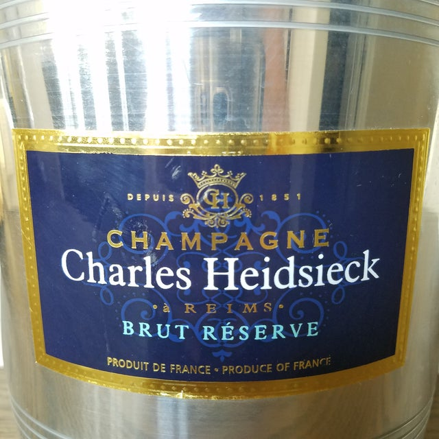 Vintage French Charles Heidsieck aluminum Champagne Ice bucket. The label is on one side and is marked Product of France...