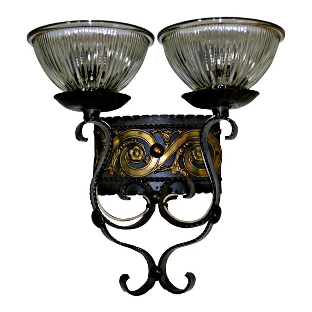 Two Light Egyptian Motif Sconce For Sale