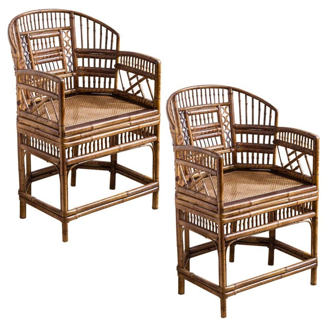 Brighton Bamboo Barrel Chairs by Thomasville Old Label, , A-Pair For Sale - Image 12 of 12