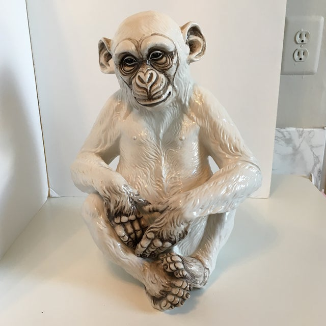 Handsome large ceramic statue of a monkey. Made in Italy. Excellent condition.