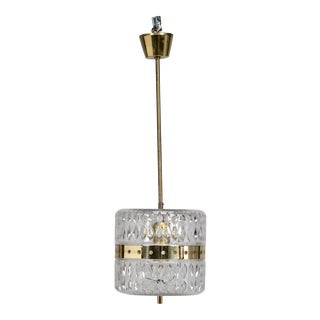Kalmar Clear Cut Crystal and Brass Pendant Fixture