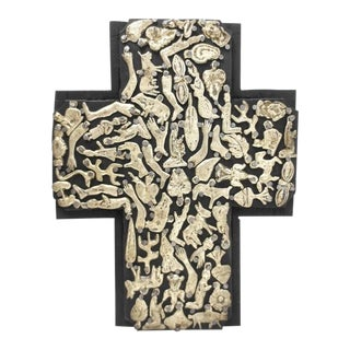 Mexican Handmade Painted Black& Nailed Metal Milagros Wood Cross For Sale